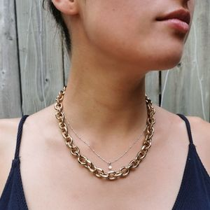 Vintage Gold tone link chain necklace jewelry